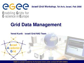 Grid Data Management  Vered Kunik  - I sraeli Grid NA3 Team