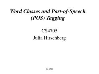 Word Classes and Part-of-Speech POS Tagging