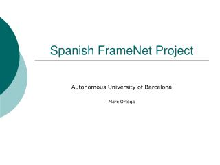 Spanish FrameNet Project