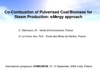 Co-Combustion of Pulverised Coal/Biomass for Steam Production: e M ergy approach