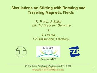 Simulations on Stirring with Rotating and Traveling Magnetic Fields
