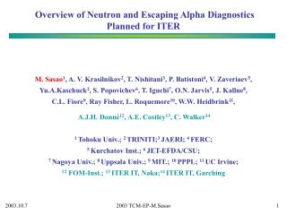 Overview of Neutron and Escaping Alpha Diagnostics Planned for ITER