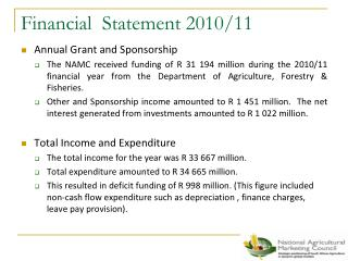 Financial  Statement 2010/11