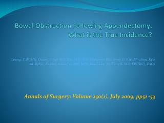 Bowel Obstruction Following Appendectomy: What is the True Incidence?