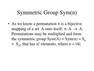 Symmetric Group Sym(n)