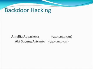 Backdoor Hacking