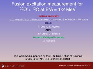 Fusion excitation measurement for 20 O +  12 C at E/A = 1-2 MeV
