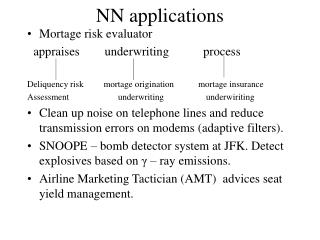 NN applications