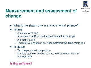 Measurement and assessment of change