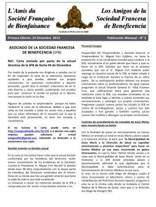 ASOCIADO DE LA SOCIEDAD FRANCESA DE BENEFICENCIA  (SFB)