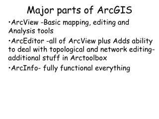 Major parts of ArcGIS