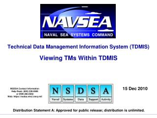 Technical Data Management Information System (TDMIS) Viewing TMs Within TDMIS