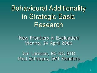 Behavioural Additionality in Strategic Basic Research