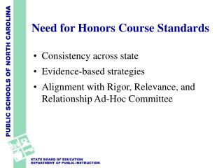 Need for Honors Course Standards