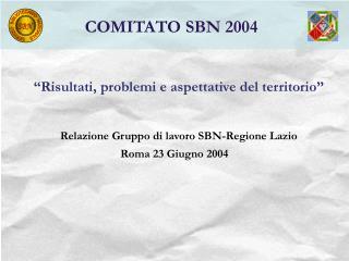 """""""Risultati, problemi e aspettative del territorio"""" Relazione Gruppo di lavoro SBN-Regione Lazio"""