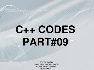 C++ CODES PART#09