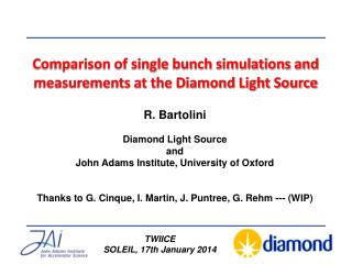 Comparison of single bunch simulations and measurements at the Diamond Light Source