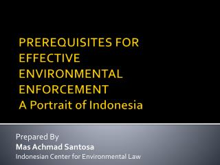 PREREQUISITES FOR EFFECTIVE ENVIRONMENTAL ENFORCEMENT A Portrait of Indonesia