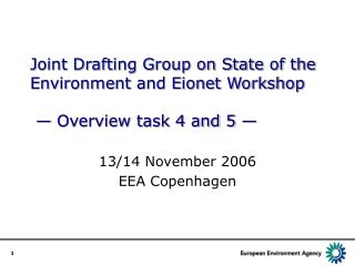 Joint Drafting Group on State of the Environment and Eionet Workshop  — Overview task 4 and 5 —
