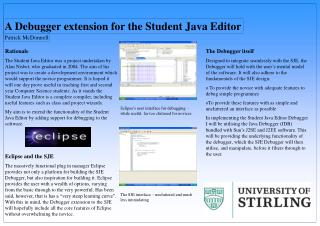 A Debugger extension for the Student Java Editor