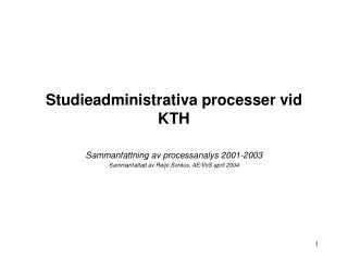 Studieadministrativa processer vid KTH