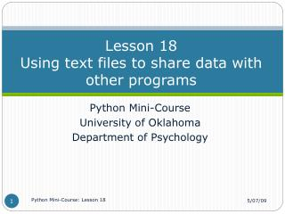 Lesson 18 Using text files to share data with other programs
