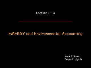EMERGY and Environmental Accounting