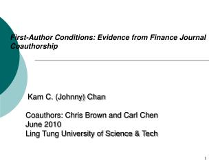 First-Author Conditions: Evidence from Finance Journal Coauthorship