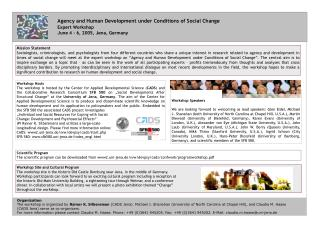 Agency and Human Development under Conditions of Social Change Expert Workshop