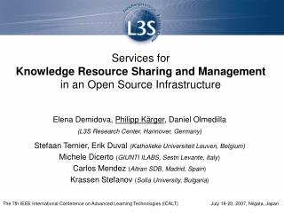 Services for Knowledge Resource Sharing and Management in an Open Source Infrastructure