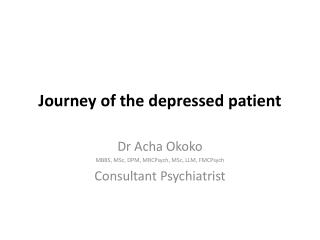 Journey of the depressed patient