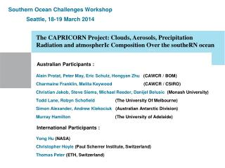Southern Ocean Challenges Workshop Seattle, 18-19 March 2014