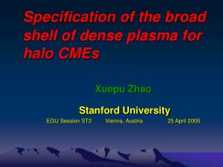 Specification of the broad shell of dense plasma for halo CMEs