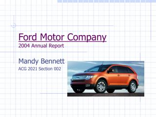 ppt comparative analysis ford motor company toyota