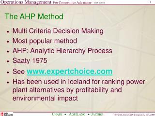 The AHP Method