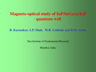Magneto-optical study of InP/InGaAs/InP   quantum well