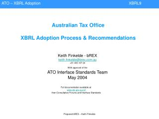 Australian Tax Office XBRL Adoption Process & Recommendations
