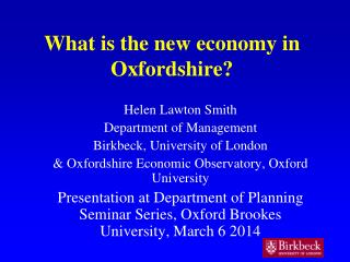 What is the new econ omy in Oxfordshire?