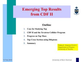 Emerging Top Results from CDF II
