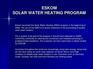ESKOM  SOLAR WATER HEATING PROGRAM