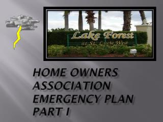 Home Owners Association Emergency Plan PART I