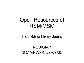 Open Resources of RSM/MSM