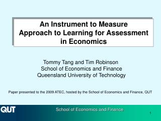 An Instrument to Measure Approach to Learning for Assessment in Economics