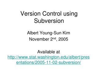 Version Control using Subversion