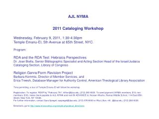 AJL NYMA 2011 Cataloging Workshop