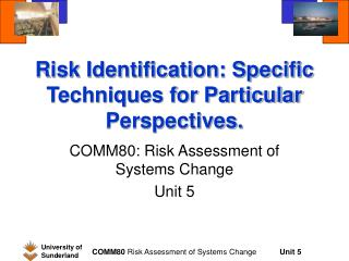 Risk Identification: Specific Techniques for Particular Perspectives.