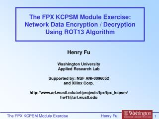 The FPX KCPSM Module Exercise: Network Data Encryption / Decryption Using ROT13 Algorithm