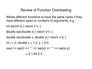Review of Function Overloading