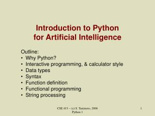 Introduction to Python for Artificial Intelligence