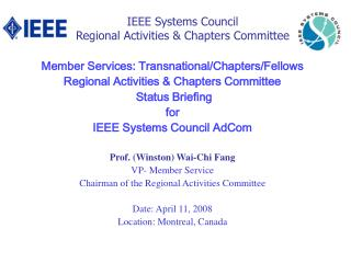 IEEE Systems Council   Regional Activities & Chapters Committee